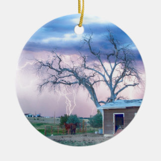 Country Horses Riders On The Storm Double-Sided Ceramic Round Christmas Ornament