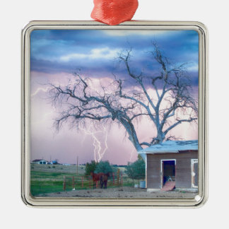 Country Horses Riders On The Storm Square Metal Christmas Ornament