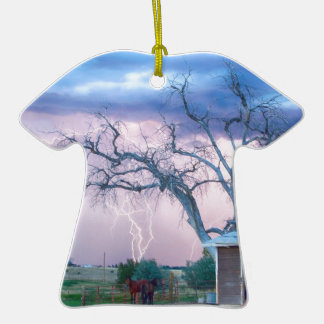 Country Horses Riders On The Storm Double-Sided T-Shirt Ceramic Christmas Ornament