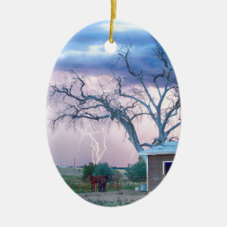 Country Horses Riders On The Storm Double-Sided Oval Ceramic Christmas Ornament