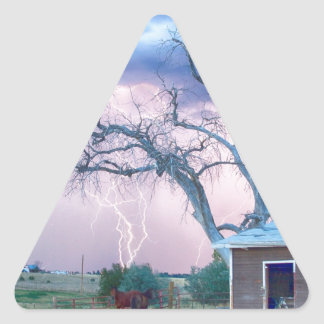 Country Horses Riders On The Storm Triangle Sticker
