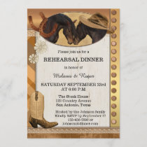 Country Horses Rustic Rehearsal Dinner Invitation