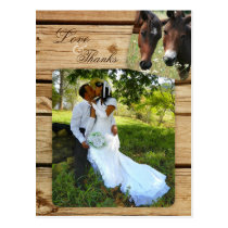 Country Horses Wedding Photo Thank You Postcard