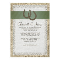 Country Horseshoes Wedding Invitations Custom Announcement