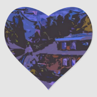 Country hoses in night heart sticker
