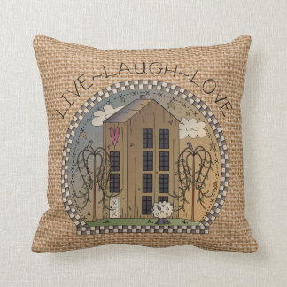Country House Inspirational faux burlap pillow