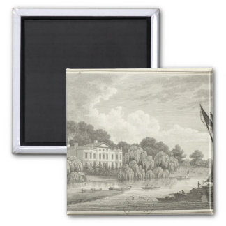 Country House with Lake and Boats 2 Inch Square Magnet