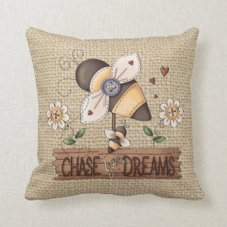 Country Inspirational Bee Faux burlap pillow