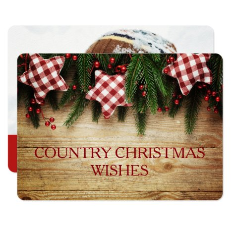 Country Inspired Christmas Card 2-sided Photo Card