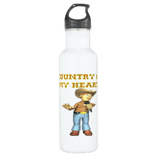 Country Is My Heart Water Bottle