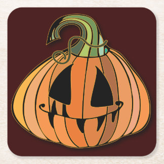 Country Jack-o-lantern Pumpkin Square Paper Coaster