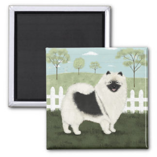Country Keeshond 2 Inch Square Magnet