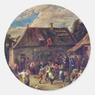 Country Kermis.,  By Teniers D. J., David Classic Round Sticker