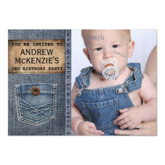 Country  Kid Birthday Party  Denim Jean Style 5x7 Paper Invitation Card