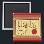 """Country Kitchen Apple and Name Magnet<br><div class=""""desc"""">This delightful County Kitchen Magnet shows your name a Apple and the word Kitchen.  The vintage colored background is in checkers. To see more cute products-Please visit my store-The Hungarican Princess, on Zazzle!</div>"""