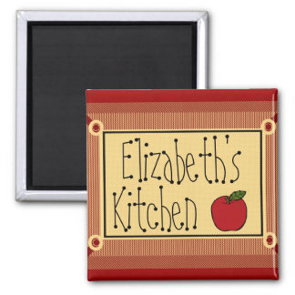 Country Kitchen-Apple & Name 2 Inch Square Magnet
