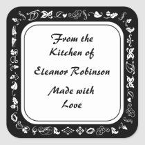 Country Kitchen Black and White Canning Labels
