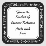 Country Kitchen Black and White Canning Labels Square Sticker