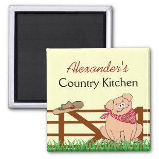 Country Kitchen- Farm Pig Personalized 2 Inch Square Magnet