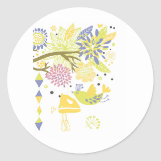 country kitchen - hand mixer on floral. classic round sticker