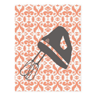 country kitchen - hand mixer on floral damask. postcard