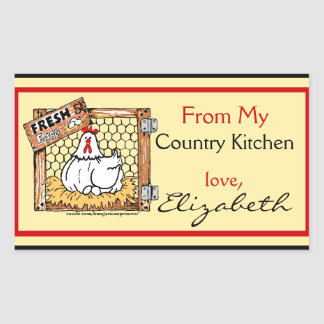 Country Kitchen Hen with Name Rectangular Sticker
