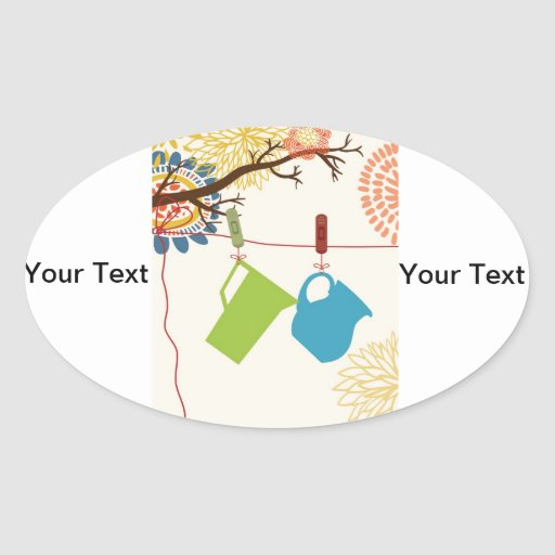Country Kitchen- Pails and Pitcher on floral. Oval Sticker