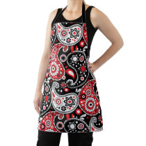 Country Kitchen Paisley Country Western Red Black Apron