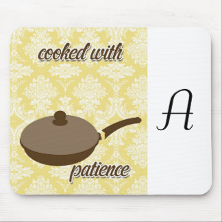 country kitchen - pans on floral damask. mouse pad