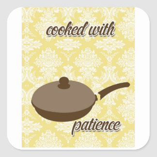 country kitchen - pans on floral damask. square sticker