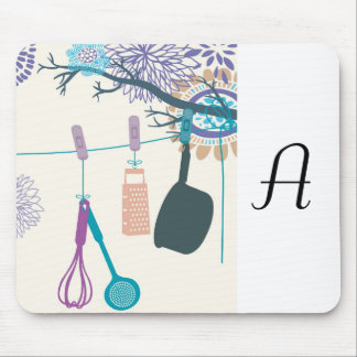Country Kitchen- Pot racks on floral. Mouse Pad