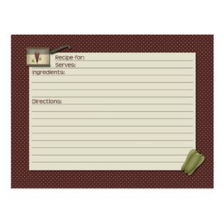 Country Kitchen Recipe Card