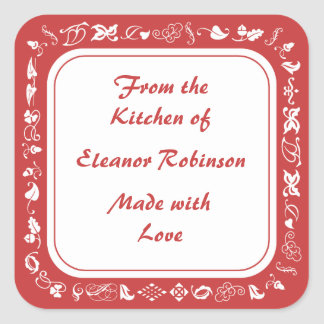 Country Kitchen Red and White Canning Labels Sticker