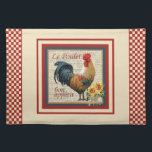 """Country Kitchen-Rooster Placemat<br><div class=""""desc"""">A perfect addition to your &quot;French Country Kitchen&quot; this charming cloth place mat shows a colorful vintage rooster, sunflowers tied with raffia and the text &quot;Le Poulet&quot; and &quot;bon appetit&quot; with a country red border. Add a designers touch to your kitchen without the designers touch cost! Matching products are available-Please...</div>"""