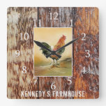 Country Kitchen Rooster Rustic Wood Farmhouse Name Square Wall Clock