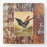 Country Kitchen Rooster Rustic Wood Farmhouse Square Wall Clock