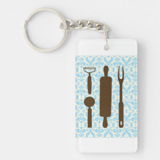 country kitchen - Silverware on floral damask. Double-Sided Rectangular Acrylic Keychain