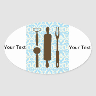 country kitchen - Silverware on floral damask. Oval Sticker