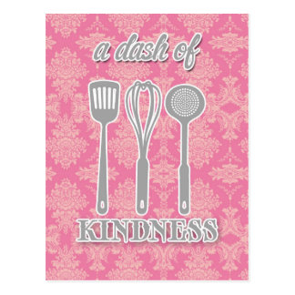 country kitchen - silverware on floral damask. postcard