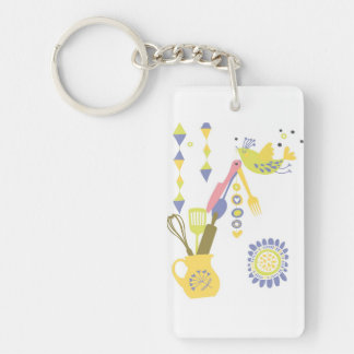 country kitchen - silverware on floral. Double-Sided rectangular acrylic keychain
