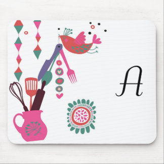 country kitchen - silverware on floral. mouse pad