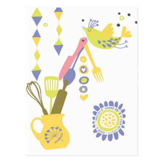 country kitchen - silverware on floral. postcard