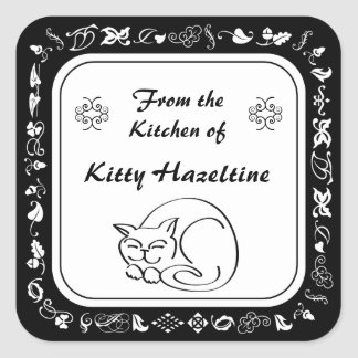 Country Kitchen Sleeping Cat Canning Labels Square Sticker
