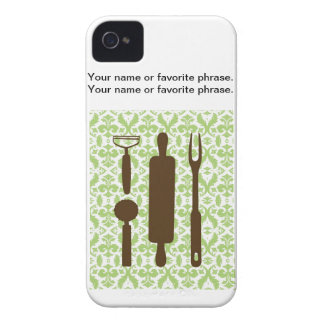 Country Kitchen - Utensils on damask. iPhone 4 Covers