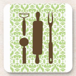 Country Kitchen - Utensils on damask Drink Coaster