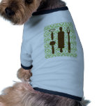 Country Kitchen - Utensils on damask. Dog T-shirt
