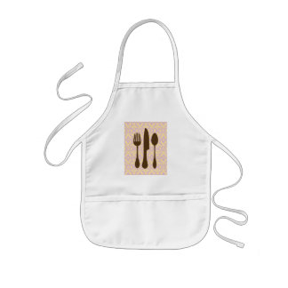 Country Kitchen -  Utensils on damask floral. Kids' Apron
