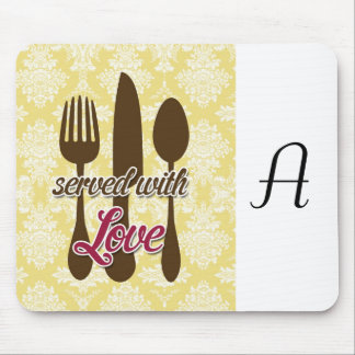 Country Kitchen- Utensils on damask floral. Mouse Pad