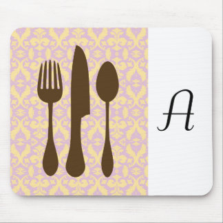 Country Kitchen -  Utensils on damask floral. Mouse Pad