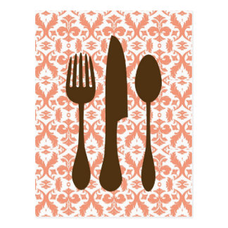 Country Kitchen- Utensils on damask floral. Postcard